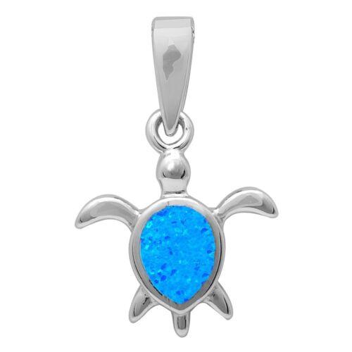 Blue Opal Turtle .925 Sterling Silver Pendant