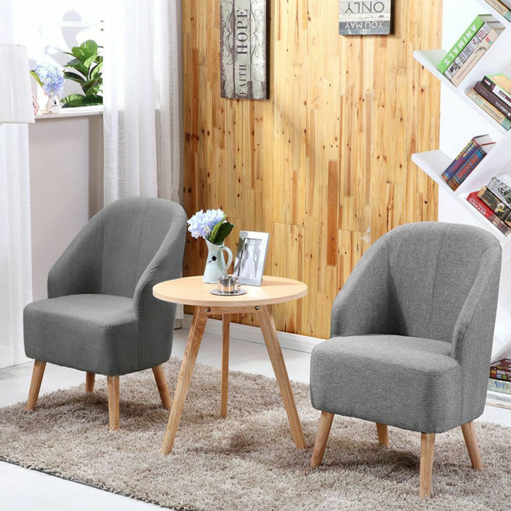 Set Of 2 Space Saving Fabric Club Chair Accent Chairs Home With Free
