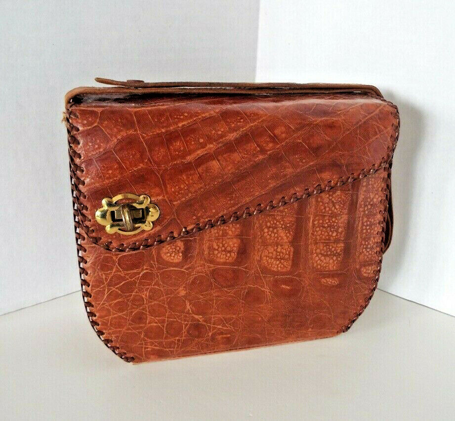 Vintage Alligator Purse Side Latch Braided Edges Mid Century Modern Croc Handbag
