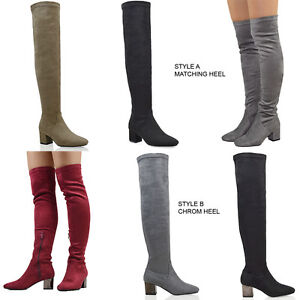 New-Womens-Over-The-Knee-Block-Low-Heel-Ladies-Stretch-Leg-Thigh-High-Boots