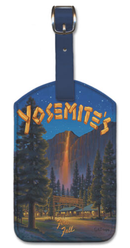 Leatherette Travel LUGGAGE TAG Baggage Label YOSEMITE NATIONAL PARK Fire Fall