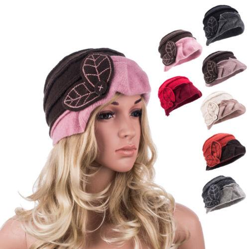 Deux-Tone fille femmes d/'hiver femme 1920 S 100/% laine feuille Seau béret chapeau A375
