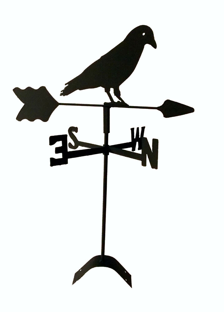 black crow weathervane black wrought iron look made in usa roof mount TLS1048RM