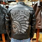 Affliction Full Slim fit Indian Skull Motorcycle Men Genuine Leather Jacket Hot
