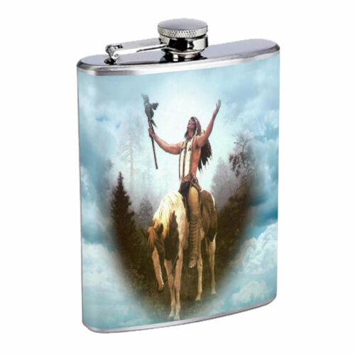 Indian Native American Flask D5 8oz Stainless Steel Tirbes Tent Wild West