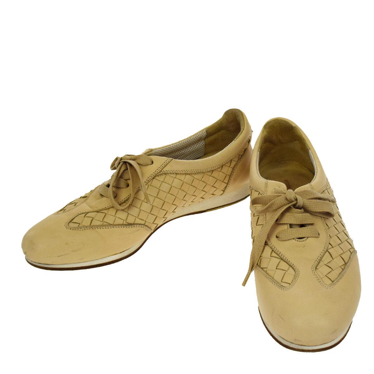 Auth Bottega Veneta Walking Sneaker Schuhes Leder #37 1/2 Beige  01A182