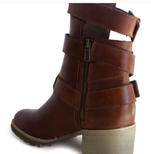 Von Dutch Staygreenical Strappy Buckle Bootie - Nutella Leather Leather Leather US Size 7 NIB 83e576