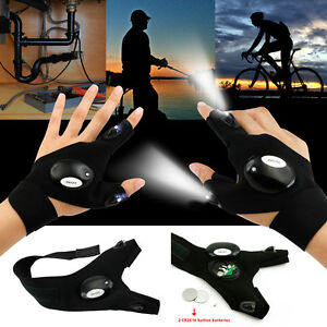 US-Outdoor-Cycling-Magic-Strap-Rescue-Sporting-Gloves-2-LED-Flashlight-Torch