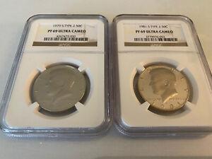 Type 2 S 50c KENNEDY HALF DOLLAR NGC PF69 ULTRA CAMEO 2 Coin Set 1979 Type 1