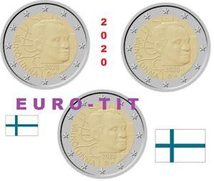 FINLANDE LOT DE  3 X  PIECES DE 2 EURO COMMEMO  VAINO  LINNA  /  2020 disponible