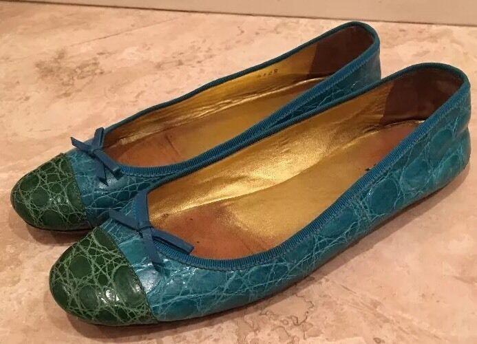 PRADA Green Teal Real Crocodile Skin Classic Classic Classic Ballet Flats Bows 37EU ITALY Rare f6a3cd