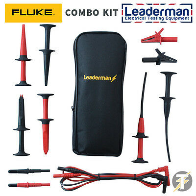 Leaderman LDM020 Test Lead Set w/ Bonus Fluke AC280, AC220, AC283 Probes/ clips