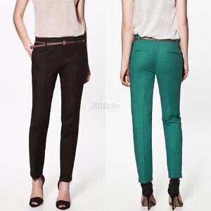 Skinny-Pencil-Pants-Women-039-s-Trousers-Slim-Stretch-High-Waist-Leggings-W-Belt-C70