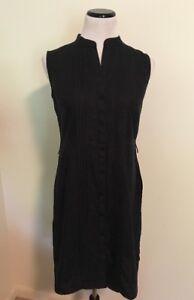 783f80a04c262 LL Bean Womens Shirt Dress Sz 8 100% Linen Sleeveless Button Down ...