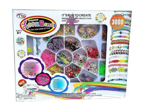 TOP 3000 Teile XXL Loom Starter Kit Set Bänder Bandz Webrahmen S-Clips Anhänger
