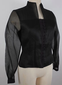 New-Anne-Fontaine-sz-2-black-corset-button-up-blouse-shirt-top-long-sleeves