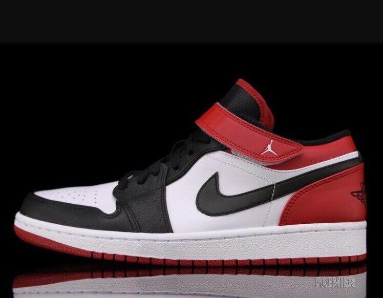 NIKE AIR JORDAN 1 LOW OG Chicago Bulls 18 BLACK RED WHITE Toe Basketball Shoes