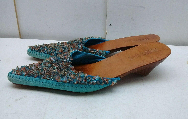 Mystique Azul con cuentas de cuero cosido a mano Sin Cordones Sandalia Zapatos para mujer mula diapositivas 6M