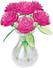 """3D PUZZLE  47 PIECES """"Roses vase - Pink"""" / CRYSTAL PUZZLES"""