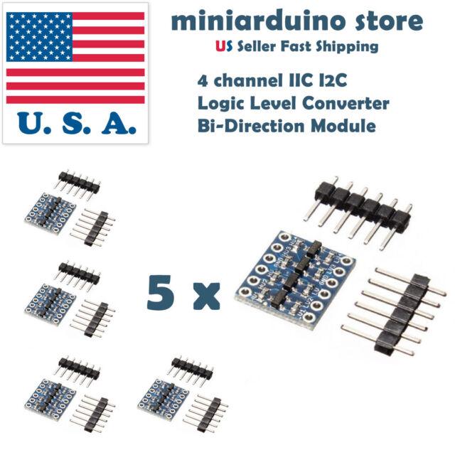 5pcs 4 Channel IIC I2C Logic Level Converter Bi-Directional Module 5V to 3.3V US