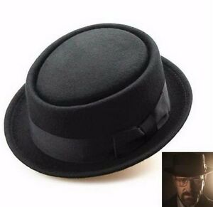 Men Women Wool Felt Round Fedora Cap Crushable Porkpie Vintage Short ... 02dd87c8b81