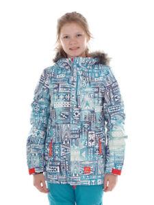 O-Neill-Giacca-da-sci-snowboard-Cloaked-Blau-Allover-Print-pelliccia-sintetica