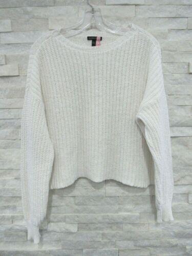 Eileen Fisher White Cotton Nylon Chunky Knit Cropp
