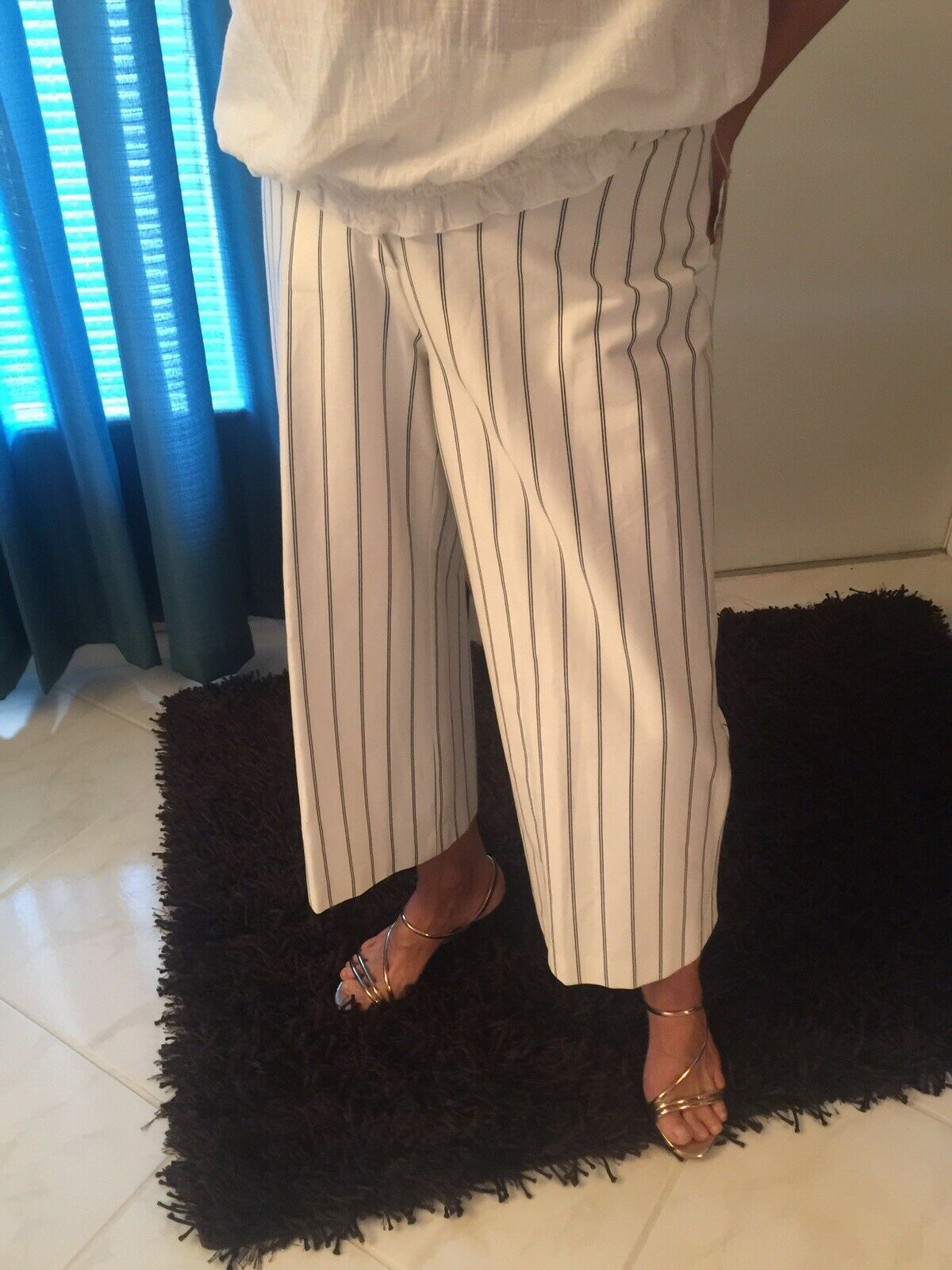 ANDRE OLIVER LADIES SIZE 8 100% ACETATE LINING DRESS PANTS STRIPE-NAVY WHITE
