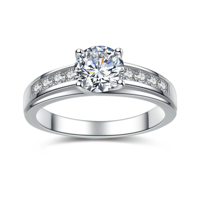 Erllo 2 Ct Cz Solitaire Engagement Ring Sterling Silver Cubic Zirconia Gold Pla For Sale Online Ebay