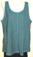Lane Bryant Aqua & Black Striped Cotton Tank Top Plus Size 18w