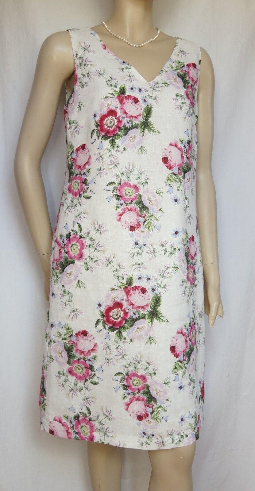 Laura Ashley Leinenkleid Sommerkleid 36 kl. 38 Leinen weiß Hochzeit Rosan Blaumen