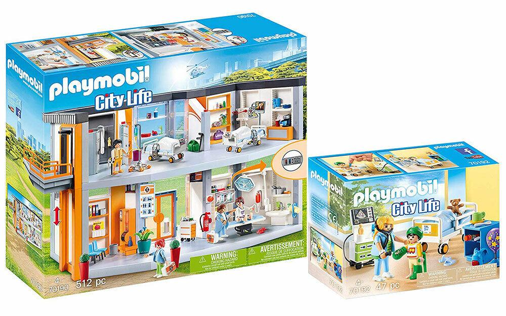 Playmobil 70190 Krankenhaus Einrichtung + 70192 Kinderkrankenzimmer 2er Set NEU