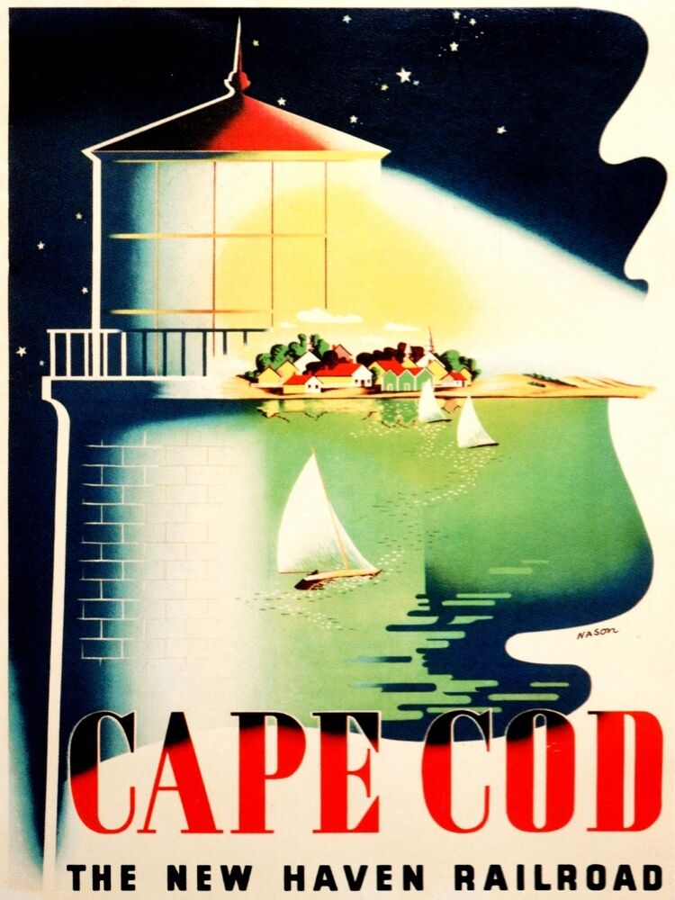 9431.Cape card.lighthouse.new haven railroad.POSTER cor Home Office art
