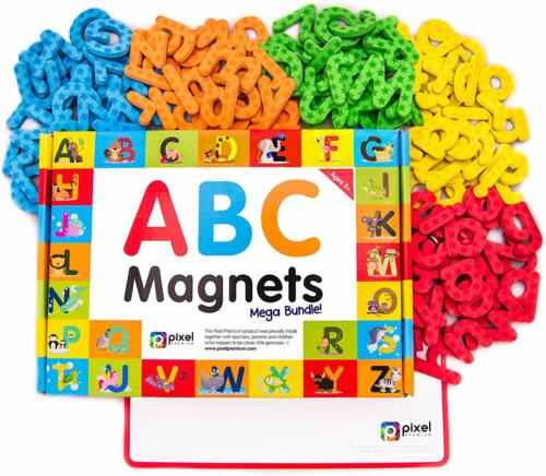 142 Magnetic Letters ABC COLOR Magnets for LEARNING TEACHING Kids Xmas Gift Set