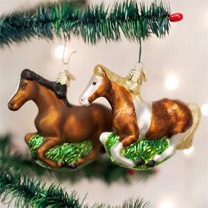 Mustang Horses Glass Ornaments