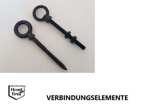 Augbolzen Augenschraube Ringbolzen Ringschraube EDELSTAHL A4 SCHWARZ BRÜNIERT
