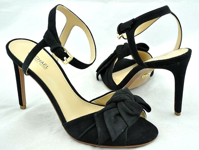b9336446ec1d Michael Kors  Willa  Women s Black Suede Open Toe Ankle Strap Bow Sandal ...