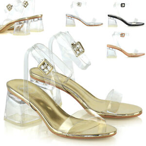 Womens-Low-Perspex-Heel-Sandals-Ladies-Strappy-Party-Clubbing-Glass-Shoes-Size