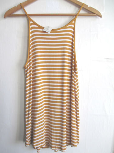 Flare Swing Womens Camisole Tank Cami Stretch Top Striped Jersey Knit Scoop Neck