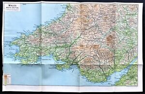 Map Of Wales Uk.1926 Color Map South Wales U K Original 100 Authentic Ebay