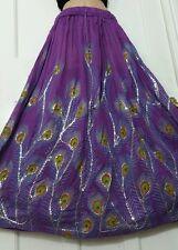 Boho Hippie Long Sequin Rayon PURPLE  Peacock design festival VINTAGE skirt