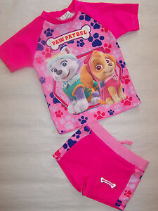New Paw Patrol Girls Hot Pink Pink Swimmers Swimming Costumes Set
