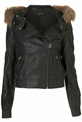 Pu Hooded 6 Uk Bomber Jacket Sort I Fur Topshop Ny 10W6tw
