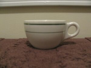 Vintage Buffalo China Coffee Cup Made in USA Double Green Stripe ...