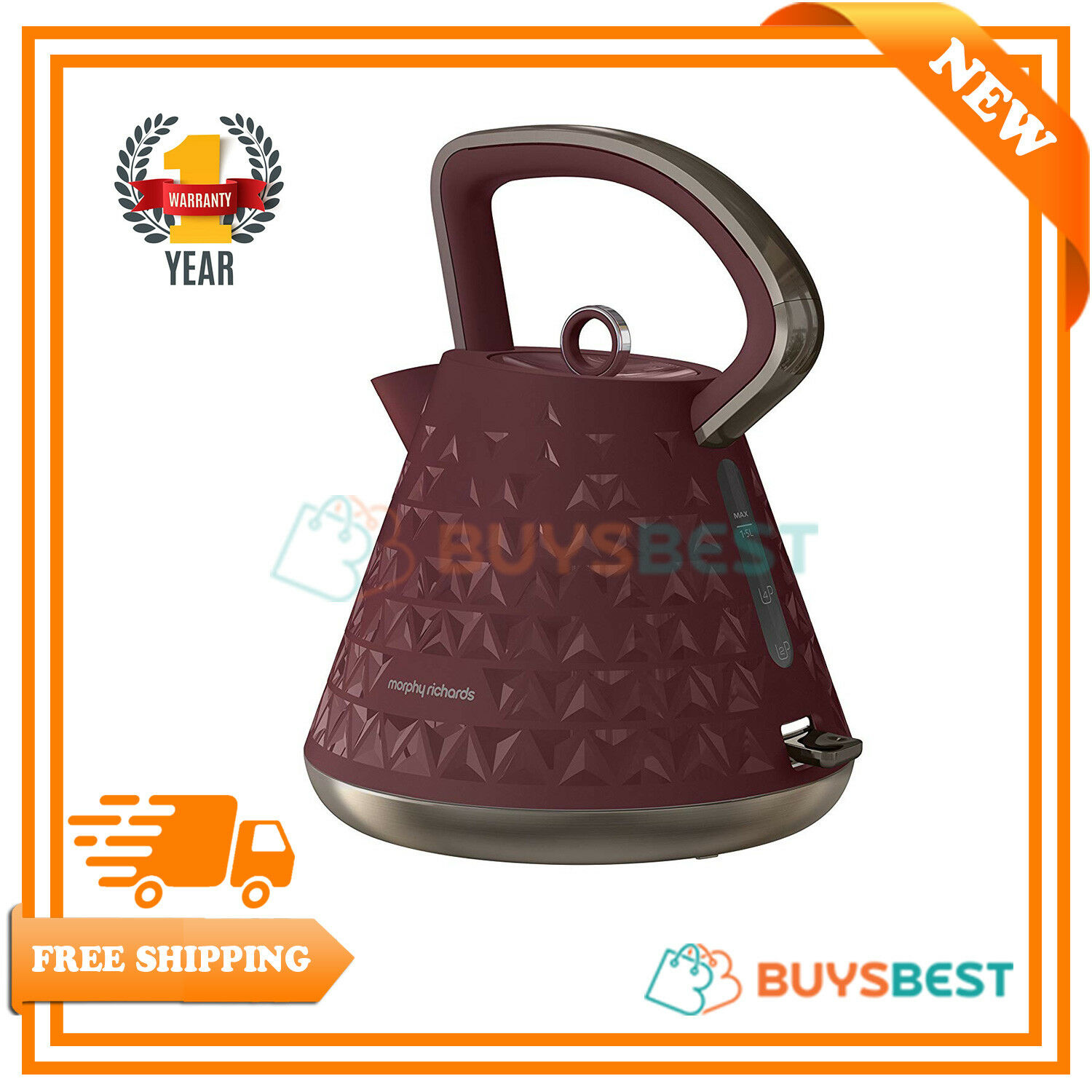Morphy Richards 1.5L Pyramid Kettle Prism Merlot Electric Kettle 3KW - 108103
