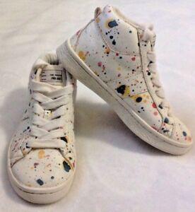 23c7cbcfd18e1f Zara Girl s High Top Sneakers Sz 11.5 EUR 29 Shoes Paint Splatter ...