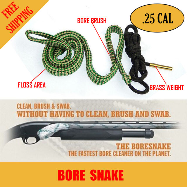 Bore Snake .25 Cal Rifle Shotgun Pistol Cleaning Kit Boresnake Gun Brush Cleaner