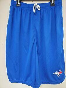 0724 BOYS Majestic TORONTO BLUE JAYS Jersey Polyester SHORTS W/Pockets Royal New