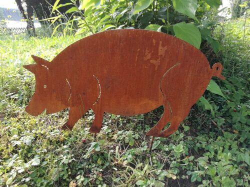 Edelrost rost gartenstecker tier schwein sau gross