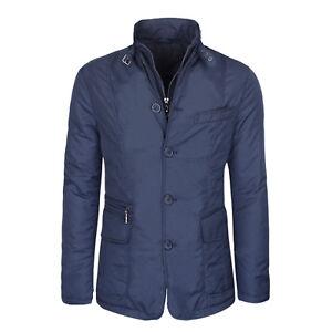 Veste Homme Hivernal Veste Bleu Manteau Casual Slim Fit Veste Sartoriale